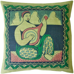 cushion_-_woman_and_mandolin_green